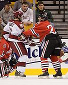 Steve Mandes (Harvard - 16), Chris Donovan (NU - 23) - The Northeastern University Huskies defeated the Harvard University Crimson 3-1 in the Beanpot consolation game on Monday, February 12, 2007, at TD Banknorth Garden in Boston, Massachusetts.