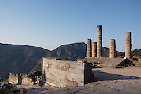 DELPHI, GREECE - APRIL 11 : A general view of the Altar of the Chians with the remains of the peristasis of the temple of Apollo in the background, on April 11, 2007 in the Sanctuary of Apollo, Delphi, Greece. The Altar of the Chians was erected circa 5th century BC, was made of black and white marble and used for the offerings made to Apollo. (Photo by Manuel Cohen)