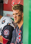 29 May 2016: Washington Nationals outfielder Bryce Harper watches play from the dugout during a game against the St. Louis Cardinals at Nationals Park in Washington, DC. The Nationals defeated the Cardinals 10-2 to split their 4-game series. Mandatory Credit: Ed Wolfstein Photo *** RAW (NEF) Image File Available ***