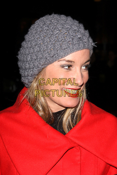 TAMZIN OUTHWAITE.Attending the Gala Performance of the English National Ballet's 'The Nutcracker' at the Coliseum, London, England, UK..December 15th 2010.headshot portrait red grey gray knitted hat lipstick .CAP/AH.©Adam Houghton/Capital Pictures.