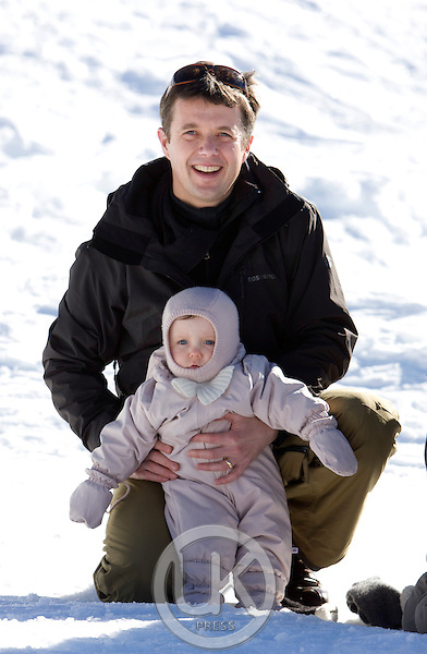Crown Prince Frederik, and Crown Princess Mary of Denmark with their children, Prince Christian, and Princess Isabella on a Ski holiday in Verbier, Switzerland