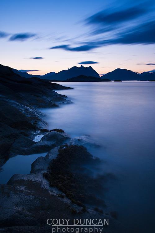 Evening light on scenic coastline, Stamsund, Vestvagoy, Lofoten islands, Norway