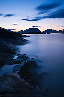 Evening light on scenic coastline, Stamsund, Vestvagoy, Lofoten islands, Norway