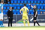 St Johnstone v Hearts…17.09.16.. McDiarmid Park  SPFL<br />Robbie Neilson is sent to the stands by referee John Beaton<br />Picture by Graeme Hart.<br />Copyright Perthshire Picture Agency<br />Tel: 01738 623350  Mobile: 07990 594431