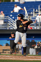 West Virginia Black Bears first baseman Carlos Munoz (56) at bat during a game against the Batavia Muckdogs on August 30, 2015 at Dwyer Stadium in Batavia, New York.  Batavia defeated West Virginia 8-5.  (Mike Janes/Four Seam Images)