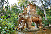 Sculture of an elephant with a castle on its back a popular Renaissance icon of power recalling Hanibals victories, commissioned by Piaer Francesco Orsini c. 1513-84, The Renaissance Mannerist statues of the Park of Monsters or The Sacred Wood of Bamarzo, Italy