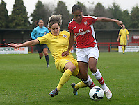 Lucie Martinkova of Sparta Prague tackles Rachel Yankey - Arsenal Ladies vs Sparta Prague - UEFA Women's Champions League at Boreham Wood FC - 11/11/09 - MANDATORY CREDIT: Gavin Ellis/TGSPHOTO - Self billing applies where appropriate - Tel: 0845 094 6026