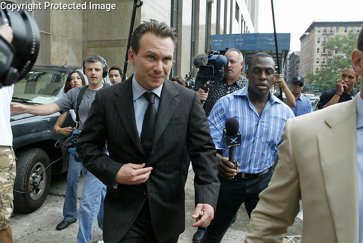 Actor Christian Slater leaving  Manhattan Criminal court  in Manhattan.