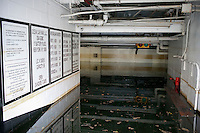 The parking garage is seen completely submerged because of flooding from Hurricane Sandy, seen on Tuesday, October 30, 2012. Hurricane Sandy roared into New York disrupting the transit system and causing widespread power outages. Con Edison is estimating it will take four days to get electricity back to Lower Manhattan. (© Richard B. Levine)