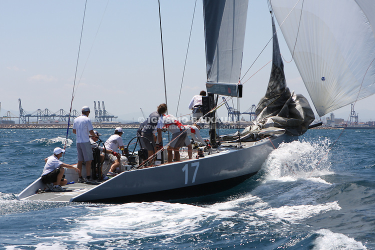 Couts vs Spithill. RC44 boats sailing in Valencia. RC44 Valencia Cup, Marina Real Juan Carlos I, Valencia, Spain
