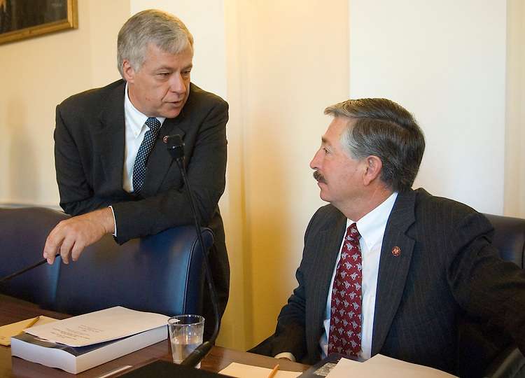 From left, Rep. Mike Michaud, D-Maine, and Rep. John Salazar, D-Colo., talk before the start of the House Committee on Veterans' Affairs hearing on the findings of the Veterans' Disability Benefits Commission on Wednesday, Oct. 10, 2007.