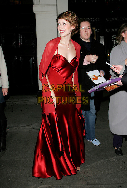 "CONNIE FISHER.Press night for ""The Sound of Music"" at the Palladium, London, UK..November 15th, 2006.CAP/AH.full length red satin dress .©Adam Houghton/Capital Pictures."