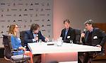 UTRECHT - KNHB Hockeycongres 2016. KNHB directeur Erik Gerritsen, dagvoorzitter Jan Bart Wildschut , Nicole Groen (FIT) , Fred Voncken (OCW)  Foto Koen Suyk.