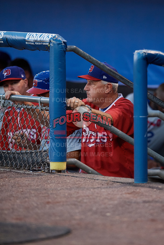 Buffalo Bisons pitching coach Bob Stanley (46) in the dugout during a game against the Syracuse Chiefs on September 2, 2018 at NBT Bank Stadium in Syracuse, New York.  Syracuse defeated Buffalo 4-3.  (Mike Janes/Four Seam Images)