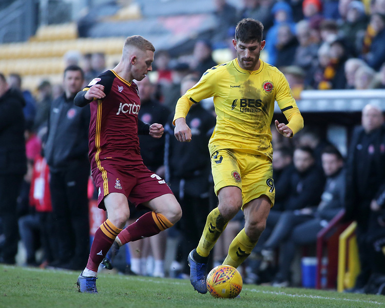 Fleetwood Town's Ched Evans gets away from Bradford City's Lewis O'Brien<br /> <br /> Photographer David Shipman/CameraSport<br /> <br /> The EFL Sky Bet League One - Bradford City v Fleetwood Town - Saturday 9th February 2019 - Valley Parade - Bradford<br /> <br /> World Copyright © 2019 CameraSport. All rights reserved. 43 Linden Ave. Countesthorpe. Leicester. England. LE8 5PG - Tel: +44 (0) 116 277 4147 - admin@camerasport.com - www.camerasport.com