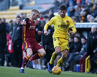 Fleetwood Town's Ched Evans gets away from Bradford City's Lewis O'Brien<br /> <br /> Photographer David Shipman/CameraSport<br /> <br /> The EFL Sky Bet League One - Bradford City v Fleetwood Town - Saturday 9th February 2019 - Valley Parade - Bradford<br /> <br /> World Copyright &copy; 2019 CameraSport. All rights reserved. 43 Linden Ave. Countesthorpe. Leicester. England. LE8 5PG - Tel: +44 (0) 116 277 4147 - admin@camerasport.com - www.camerasport.com