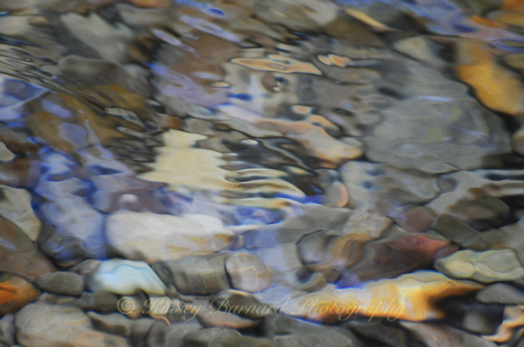 """""""RIVER MOSAIC-3""""<br /> <br /> Soft, colorful abstract image of stones and pebbles beneath the cool waters of the Tobacco River in Montana. 24 x 36 signed, original, gallery wrapped wrapped canvas $2,500. Check for availability"""