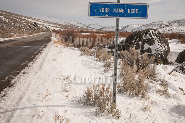"Sign for ""Your Name Here"" under litter control along the highway. SR 225, Mountain City Highway in northern Nev."