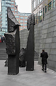 The Broad Family, a basalt sculpture by Xavier Corbero, Broadgate office development, City of London.
