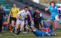 Ruth Laybourn in action, England Women v Italy Women in Women's 6 Nations Match at Twickenham Stoop, Twickenham, England, on 15th February 2015. Final score 39-7.