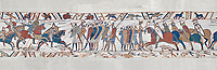 Bayeux Tapestry scene 51c:  The Norman cavalry charge the Saxon foot solders. BYX51c