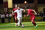 Musa Altmari of Jordan (L) in action during the International Friendly match between Hong Kong and Jordan at Mongkok Stadium on June 7, 2017 in Hong Kong, China. Photo by Cris Wong / Power Sport Images