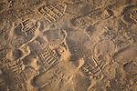 Footprints in dirt near Fredericksburg, Texas, Friday, July 24, 2009. (Darren Abate/pressphotointl.com)