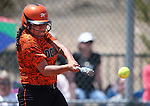 Douglas Tigers' Leonna Mortimer hits against the Galena Grizzlies in a first round game of the NIAA northern region softball tournament in Reno, Nev., on Thursday, May 15, 2014. <br /> Photo by Cathleen Allison