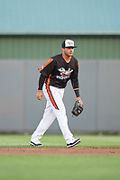 Aberdeen IronBirds second baseman Alexis Torres (35) during a game against the Staten Island Yankees on August 23, 2018 at Leidos Field at Ripken Stadium in Aberdeen, Maryland.  Aberdeen defeated Staten Island 6-2.  (Mike Janes/Four Seam Images)