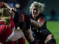 Marlie Packer eyes the opposition at a scrum, England Women v Canada in an Autumn International match at The Stoop, Twickenham, London, England, on 21st November 2017 Final score 49-12