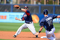 Boston Red Sox shortstop Stephen Drew #7 attempts to tag out Ben Zobrist #18 sliding in during a Grapefruit League Spring Training game against the Tampa Bay Rays at Charlotte County Sports Park on February 25, 2013 in Port Charlotte, Florida.  Tampa Bay defeated Boston 6-3.  (Mike Janes/Four Seam Images)
