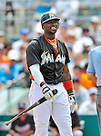 13 March 2012: Miami Marlins third baseman Hanley Ramirez in action during a Spring Training game against the Atlanta Braves at Roger Dean Stadium in Jupiter, Florida. The two teams battled to a 2-2 tie playing 10 innings of Grapefruit League action. Mandatory Credit: Ed Wolfstein Photo