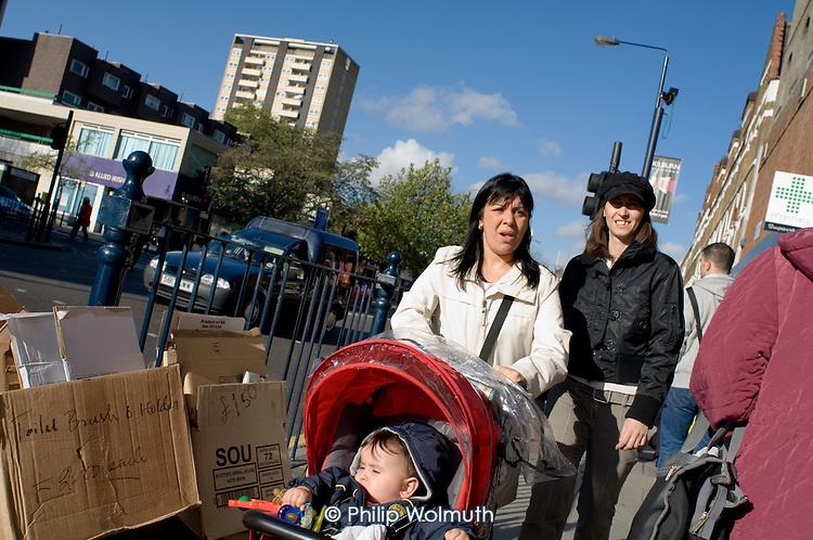Shoppers on Kilburn High Road, London.