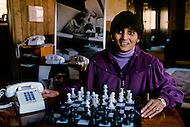 Wasco, Oregon, January 1984: Ma Anand Sheela the secretary of Bhagwan Shree Rajneesh and the president of the International Rajneesh Foundation in Rajneeshpuram. Rajneeshpuram, was an intentional community in Wasco County, Oregon, briefly incorporated as a city in the 1980s, which was populated with followers of the spiritual teacher Osho, then known as Bhagwan Shree Rajneesh. The community was developed by turning a ranch from an empty rural property into a city complete with typical urban infrastructure, with population of about 7000 followers.