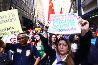 São Paulo,SP - 09.06.2014 -PROTESTO  DOS METROVIARIOS EM GREVE  - Metroviarios de São Paulo se reuniram em frente a Secretaria de Transportes no centro da cidade de São Paulo nesta manhã de segunda feira(09) para exigir melhorias de salario - (Foto: Aloisio Mauricio / Brazil Photo Press)