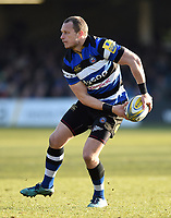 Jack Wilson of Bath Rugby looks to pass the ball. Aviva Premiership match, between Bath Rugby and Sale Sharks on February 24, 2018 at the Recreation Ground in Bath, England. Photo by: Patrick Khachfe / Onside Images