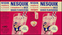 BNPS.co.uk (01202 558833)<br /> Picture: Nestle/BNPS<br /> <br /> ****Please use full byline****<br /> <br /> Nesquik raspberry milk. <br /> <br /> A selection of vintage chocolate and sweets wrappers have been unearthed to help trigger happy memories in dementia sufferers.<br /> <br /> Some of the earliest examples of the Rowntrees packaging dates from the 1920s and includes the first wrappers for famous treats such as Aero, Dairy Box, and Fruit Gums.<br /> <br /> As the brands were updated over the years the paper casing was gradually changed but examples of the early versions were stored in an archive.<br /> <br /> Historians at Rowntrees have now placed images of the packets on an online document so that they can be seen by dementia sufferers as a way to reminisce.