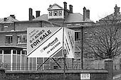 For sale sign outside St Mary's Hospital, Harrow Road, London 1987.
