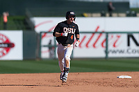 Oregon State Beavers shortstop Beau Philip (4) rounds the bases after hitting a three-run home run during a game against the Gonzaga Bulldogs on February 16, 2019 at Surprise Stadium in Surprise, Arizona. Oregon State defeated Gonzaga 9-3. (Zachary Lucy/Four Seam Images)