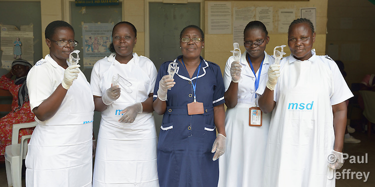 The nurses who do cervical cancer screening in the Shirati Hospital in Shirati, Tanzania.  <br /> <br /> From left to right, they are Elizabeth Peter, Joyce Agutu, Moureen Mbise, Grace Adebi and Sophia Nyosingo.