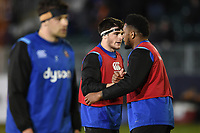 Josh Bayliss and Levi Douglas of Bath Rugby during the pre-match warm-up. Aviva Premiership match, between Bath Rugby and Northampton Saints on February 9, 2018 at the Recreation Ground in Bath, England. Photo by: Patrick Khachfe / Onside Images