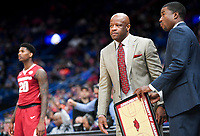 NWA Democrat-Gazette/CHARLIE KAIJO Arkansas Razorbacks head coach Mike Anderson watches the game during the Southeastern Conference Men's Basketball Tournament quarterfinals, Friday, March 9, 2018 at Scottrade Center in St. Louis, Mo.