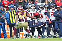 Landover, MD - November 18, 2018: Houston Texans tight end Jordan Thomas (83) catches a pass during the  game between Houston Texans and Washington Redskins at FedEx Field in Landover, MD.   (Photo by Elliott Brown/Media Images International)