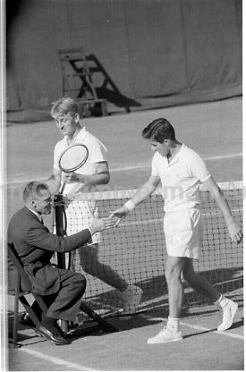 Australian player Lew Hoad finishes match in 1956 U.S. Men's National Championship against fellow Australian Ken Rosewall. West Side Tennis Club, Forest Hills, New York. Photograph by John G. Zimmerman