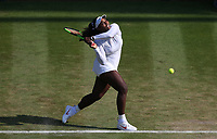 Serena Williams (USA) during her victory over Kristina Mladenovic (FRA) in their Ladies' Singles Third Round match<br /> <br /> Photographer Rob Newell/CameraSport<br /> <br /> Wimbledon Lawn Tennis Championships - Day 5 - Friday 6th July 2018 -  All England Lawn Tennis and Croquet Club - Wimbledon - London - England<br /> <br /> World Copyright &not;&copy; 2017 CameraSport. All rights reserved. 43 Linden Ave. Countesthorpe. Leicester. England. LE8 5PG - Tel: +44 (0) 116 277 4147 - admin@camerasport.com - www.camerasport.com