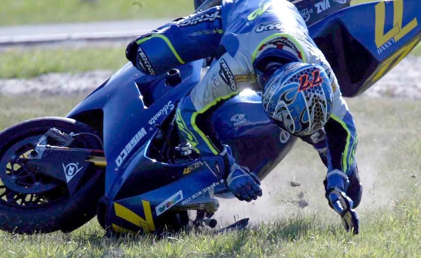 Moto Gp at Phillip Island.  James Ellison of Great Britain crashes his WCM Harris bike.