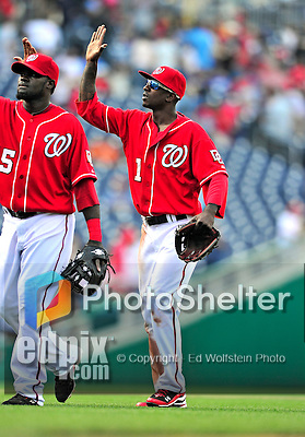 25 April 2010: Washington Nationals' outfielder Nyjer Morgan celebrates a win against the Los Angeles Dodgers to cap their 10 game homestand at Nationals Park in Washington, DC. The Nationals shut out the Dodgers 1-0 to take the rubber match of their 3-game series. Mandatory Credit: Ed Wolfstein Photo