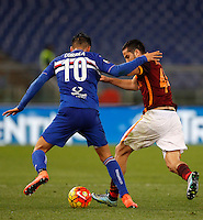 Calcio, Serie A: Roma vs Sampdoria. Roma, stadio Olimpico, 7 febbraio 2016.<br /> Sampdoria&rsquo;s Joaquin Correa, left, and Roma&rsquo;s Kostas Manolas fight for the ball during the Italian Serie A football match between Roma and Sampdoria at Rome's Olympic stadium, 7 January 2016.<br /> UPDATE IMAGES PRESS/Riccardo De Luca