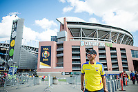 Seattle, WA - Thursday, June 16, 2016: Ecuador fan outside CenturyLink Field where the Quarterfinal of the 2016 Copa America Centenrio was held.