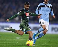 11th January 2020; Stadio Olympico, Rome, Italy; Serie A Football, Lazio versus Napoli; Lorenzo Insigne of Napoli  gets his cross into the Lazio box - Editorial Use